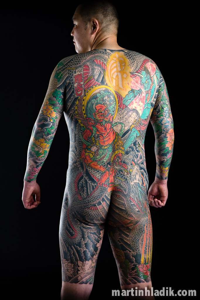 Japanese tattoo photographed in studio of Horiyoshi III exhibited in Quai Branly Museum
