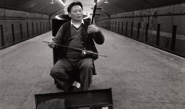 Chinese musician in subway