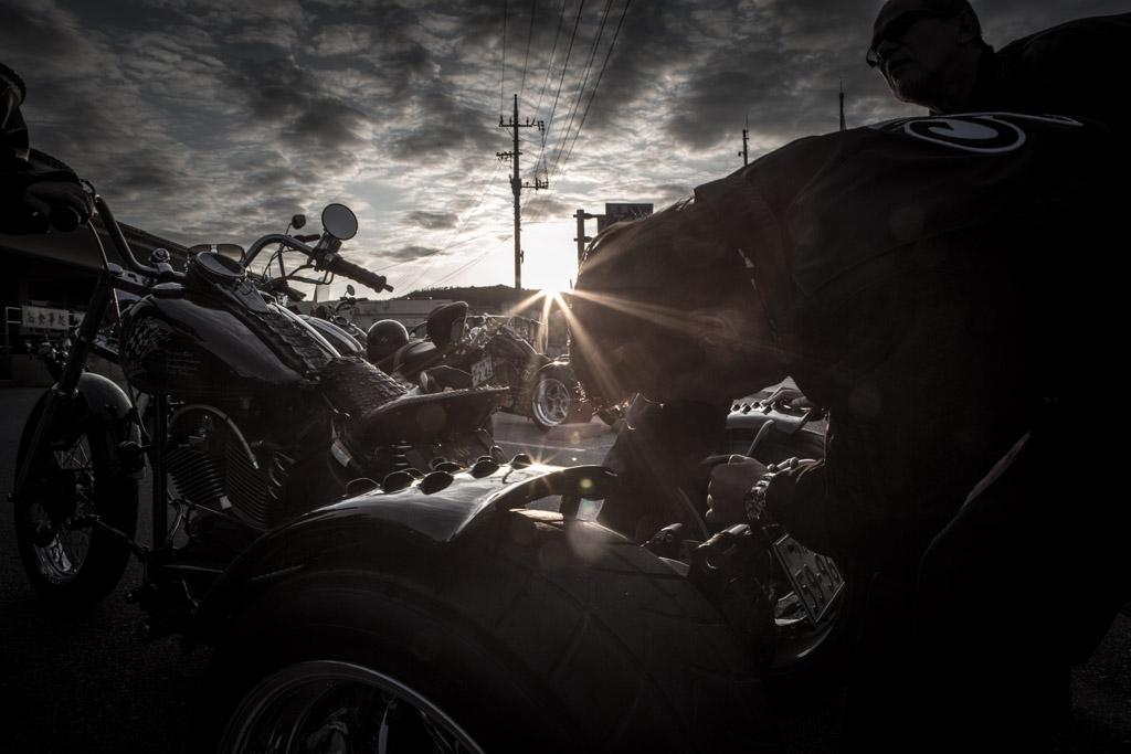 Harley Davidson trikers lead by Hidemitsu Sato from Cools at Okinawa