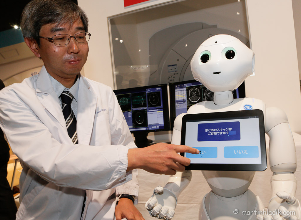 Human-shaped robot, designed to be a genuine day-to-day companion. Pepper is able to interact and learn. It can recognize faces, speak several languages, hear you and move around autonomously. It can be personalized by downloading software applications that suit clients' usage needs.