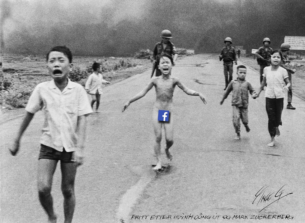 In this June 8, 1972, file photo, 9-year-old Kim Phuc, center, runs with her brothers and cousins, escaping from napalm attack location. (AP Photo/Nick Ut, File)